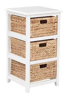 OSP Home Furnishings Seabrook White Storage Unit with Natural Baskets, White Wood Finish 4 Drawer Storage Unit, Wood Storage, Storage Baskets, Storage Chest, Modular Storage, Closet Storage, Craft Storage, Storage Cabinets, Office Star