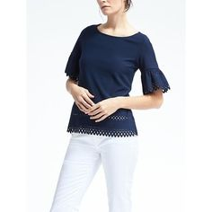 Banana Republic Crepe Boat Neck Flounce Sleeve Top ($50) ❤ liked on Polyvore featuring tops, navy star, petite, slash neck top, petite tops, ruffle sleeve top, scallop edge top and scallop hem top