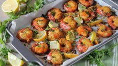Crevettes cuites au four parfumées au citron - Recettes Faciles Look And Cook, Bruschetta, Great Recipes, Potato Salad, Cauliflower, Shrimp, Finger Food, Seafood, Dips