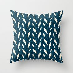 Kereru and magnolia - navy  throw pillow from $20.00 Navy Pillows, Throw Pillows, Magnolia, Stylish, Pretty, How To Make, Cushions, Decorative Pillows, Magnolias