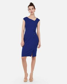 e273f8738b1 Asymmetrical Button Front Dress Black Women s XXS. express.com