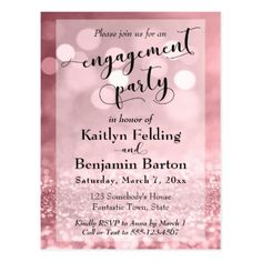 Rose Gold Glitter Bokeh Engagement Party Postcard custom gift ideas diy
