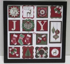 Christmas Framed by Stampin' Nanna - Cards and Paper Crafts at Splitcoaststampers Christmas Shadow Boxes, Christmas Collage, Christmas Paper Crafts, Christmas Frames, 3d Paper Crafts, Christmas Scrapbook, Stampin Up Christmas, Christmas Projects, Handmade Christmas