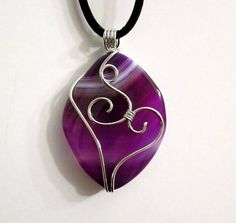 Purple Onyx Agate Wire Wrapped Pendant Necklace by AdAstraEmporium, $24.00