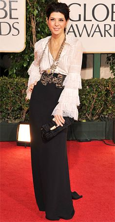 Marisa Tomei, 2009  Marisa Tomei chose unexpected separates to celebrate her second Globes nod. She accessorized her Oscar de la Renta lace blouse and long skirt with a wide lace belt and Neil Lane necklaces.