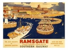 Vintage Ramsgate Railway Poster reprint by VintagePosterShopUK Train Posters, Railway Posters, British Travel, British Seaside, British Isles, National Railway Museum, Tourism Poster, Southern Railways, Seaside Resort