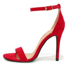 LULUS Chloe Red Suede Ankle Strap Heels ($26) ❤ liked on Polyvore featuring shoes, pumps, red, red shoes, vegan leather shoes, ankle wrap shoes, lulu shoes and red pumps