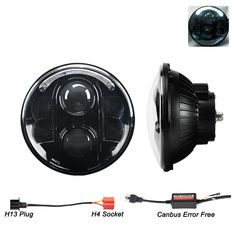 "Liteway 7"" 80W Round CREE LED Headlights Hi/Lo Beam Projection White Halo Ring Angel Eye DRL for Jeep Wrangler JK TJ LJ CJ Rubicon Sahara Unlimited Hummer H1 H2 Land Rover Defender, 2 Years Warranty"