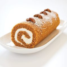 What's orange and white and rolled all over? Our Pumpkin Roll pleases the taste buds and eyes with a whimsical swirl of cream cheese icing and soft, spiced sponge cake. Plus, we make the rolling easy with greased parchment paper.