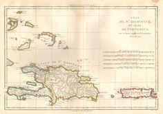 BONNE M L'Isle de St Domingue, et celle de Porto-Rico    Paris (1771)  Engraved map of the Dominican Republic and Haiti and Puerto Rico.