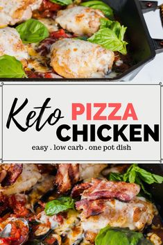 Keto Pizza Chicken Recipe - An easy one skillet keto chicken recipe that the whole family will love. Delicious pizza and chicken flavor made in one po. Keto Shrimp Recipes, Low Carb Dinner Recipes, Keto Dinner, Lunch Recipes, Pizza Recipes, Chicken Recipes With Tomatoes, Chicken Flavors, Keto Chicken, Chicken Pizza