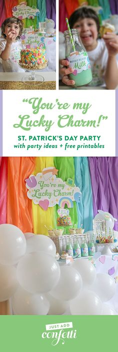 You're my Lucky Charm St. Patrick's Day party, You're my Lucky Charm, St. Patrick's Day party, lucky charm, cereal party, cereal-sly lucky, kids party, kid's St. Patrick's Day party, free printables, pastel rainbow, rainbow cupcakes, Lucky Charms cake, Just Add Confetti, Just Add Confetti printables, Lucky Charms, Lucky Charms cereal, inexpensive parties, easy parties, party on a budget, budget-friendly parties, lucky, what I lack in luck I make up for in charm, charm, leprechaun, party…