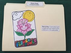 "File Folder Game - Flower Parts -  ""FLOWER POWER"" by NoBatteryReqrdGames on Etsy"