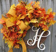Fall Burlap Wreaths Fall Wreath in Gold / Yellow Autumn