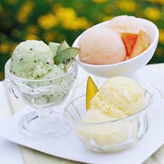 A variety of tropical flavored sherbet makes a great dessert for a #summer_wedding