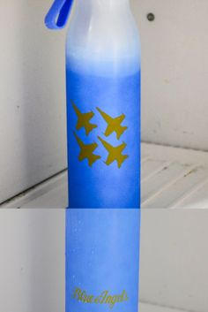 """BLUE ANGELS MOOD BOTTLE   24oz Bottle Screw on lid w/ hand strap.   White bottle with Yellow Blue Angels Jets and """"Blue Angels"""". Turns BLUE when cold water/liquid is added.   Color changing activation directions included. Us Navy Blue Angels, Turn Blue, Jets, Cold, Activities, Yellow, Bottle, Water, Water Water"""