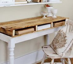DIY Pallet Projects - Desk - Click pic for 25 Reclaimed Interiors Oak Furniture Land, Diy Home Furniture, Diy Pallet Furniture, Diy Pallet Projects, Furniture Making, Diy Home Decor, Painted Furniture, Decoracion Low Cost, Pallet Desk