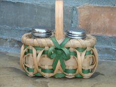 Green Salt & Pepper Shaker Basket Handwoven by kimstexascreations