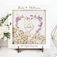 Drop Box Guest Book Classic White Floral Watercolour Elegant