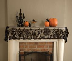 """Halloween Spooky Hollow Black Lace Mantel Scarf, 19x84"""", by Heritage Lace ($25) ~ also matching curtain panels, table runner, place mats, etc."""