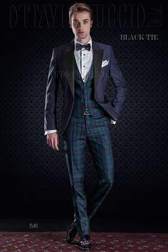 Dark blue wool blend tuxedo jacket with Tartan vest and pants in wool