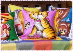 vintage tea towel cushions