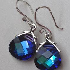 pinch bail for swarovski 6010 | Heliotrope Large - Swarovski Crystal Briolette Earrings, Bridesmaid ...