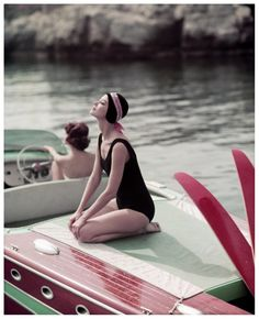 Georges Dambier, Barbara Mullen and Marie Helene on the Riva,  Cap d' Antibes Eden Roc, for Elle Magazine, 1957
