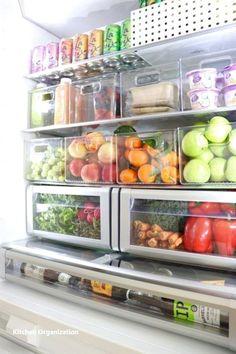 39 Stunning Diy Kitchen Storage Solutions For Small Space that look so excited : Kitchen Pantry Storage, Refrigerator Organization, Kitchen Storage Solutions, Food Storage, Storage Ideas, Fridge Storage, Storage Design, Storage Bins, Storage Spaces