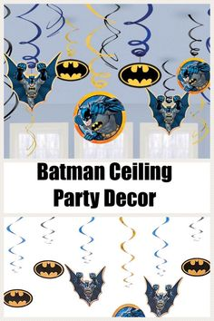 Hanging Batman party decorations will make your party guests feel like the Caped Crusader is gliding by to celebrate! Kit provides up to 36 feet of decorating and contains six foil swirl decorations, three foil swirl decorations with seven-inch cutouts and three foil swirl decorations with five-inch cutouts.Lightweight and easy to hang from the ceiling, decorations feature yellow, black and blue foil swirls with a metallic finish and cardboard cutouts of Batman or the Batman symbol. #ad Super Batman, Batman Party Decorations, Yellow Black, Blue, Party Desserts, Party Guests, Craft Party, Swirls, Party Favors