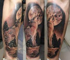 Tatuagem Braço Realísticas Lobo por Dimitri Tattoo