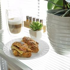 My weekend included mini multigrain croissants  with truffle cheese  and turkey sausage  And a @nespresso.ca latte of course