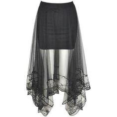 LUCLUC Black See Through Irrgular Chiffon Skirt ($14) ❤ liked on Polyvore