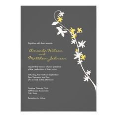 Grey and Yellow Wedding Invitations