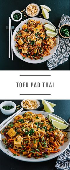 Tofu Pad Thai recipe. It's vegan! Cooked with brown-rice noodles, peanuts, red cabbage and carrots. Recipe here: https://greenchef.com/recipes/vegan-tofu-pad-thai-noodle-bowl?utm_source=pinterest&utm_medium=link&utm_campaign=social&utm_content=tofu-pad-thai
