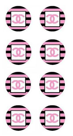 Chanel Wall Art, Chanel Decor, Chanel Cupcakes, Printable Sticker Paper, Chanel Wallpapers, Chanel Poster, Cupcake Toppers Free, Chanel Party, Label Shapes