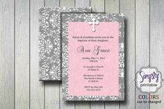 Pink First Holy Communion / Baptism Invitation by simplyprintable