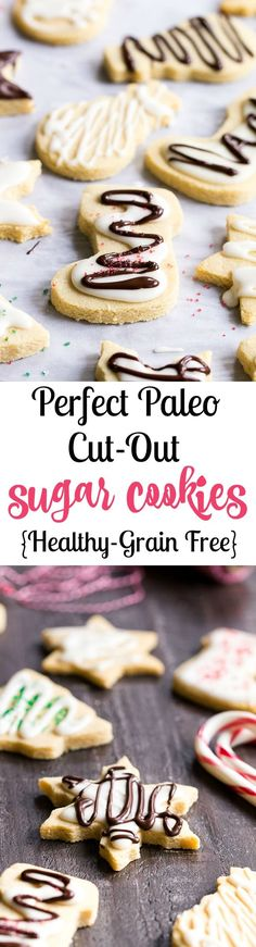 These easy cut-out Paleo Sugar Cookies are made with almond and coconut flour and sweetened with honey.  The perfect sugar cookies for the holidays that no one will guess are Paleo.  Grain free, refined sugar free, kid approved!
