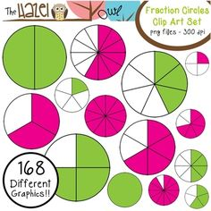 Fraction Circles Set: Clip Art Graphics for Teachers {Green & Pink + Blacklines} - The Hazel Owl - TeachersPayTeachers.com