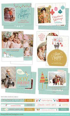 Christmas Card Templates | Holiday Fun from Hazy Skies Designs http://www.hazyskiesdesigns.com/collections/frontpage/products/christmas-card-templates-holiday-fun