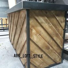 Оригинальная дизайнерская барная стойка. Брутальная, из стали и дерева, барная стойка в стиле лофт на заказ в Москве.