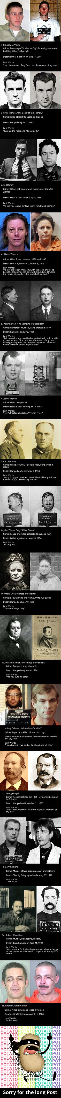 Here's an Infamous Criminals and Their Last Words Before Execution, What's yours?