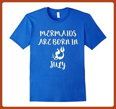 Mens Mermaids are born in July  Funny T-shirt Birthday Girl Gift Small Royal Blue - Birthday shirts (*Partner-Link)