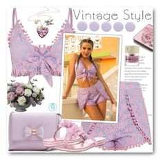 """Lilac Lace Crop Top Set"" by queenvirgo ❤ liked on Polyvore featuring Allstate Floral, Ted Baker, Nina, Trish McEvoy, Deborah Lippmann and Smith & Cult"