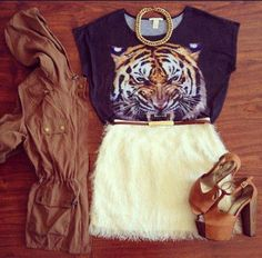 tiger love feather skirt military jacket