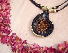 Black and Brown Macrame Necklace,Macrame Jewelry,Tribal Necklace with an Ammonite Pendent