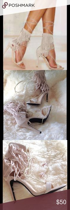Nude/Blush fringe heels  Brand New No Box From ENGLAND Brand new nude/blush heels. Similar in style to Schutz Kija, but these are BEBO brand. 3 1/2 inch heel. 10 inch footbed. Faux suede. UK 5. Size US 7. BEBO Shoes Heels