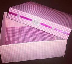 caixa de papelão scrapbook ... linda de viver ♥