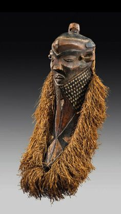 Africa | Mask from the Pende people of Dr Congo | Wood, fiber and metal | 20th century