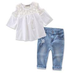 Ripped Denim Pants Verypoppa Baby Girls Outfit Off Shoulder Shirt Top Headwear 3 Pcs Set